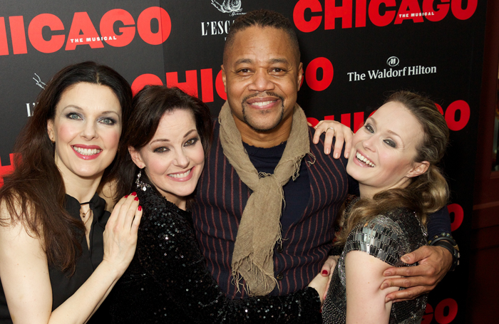 Cast members Josefina Gabrielle, Ruthie Henshall, Cuba Gooding Jr and Sarah Soetaert at the opening night of Chicago. Photo: Piers Allardyce
