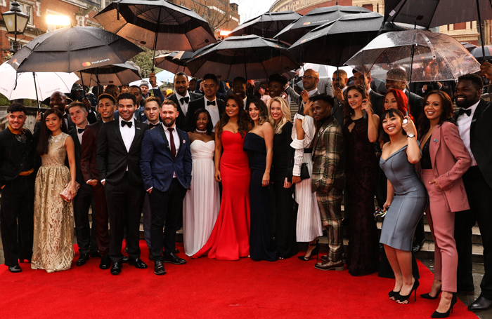 Cast of Hamilton arriving at the Olivier Awards. Photo: Darren Bell