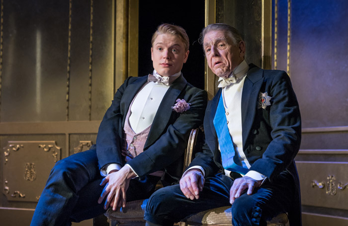 Freddie Fox and Edward Fox in An Ideal Husband at the Vaudeville Theatre, London. Photo: Marc Brenner