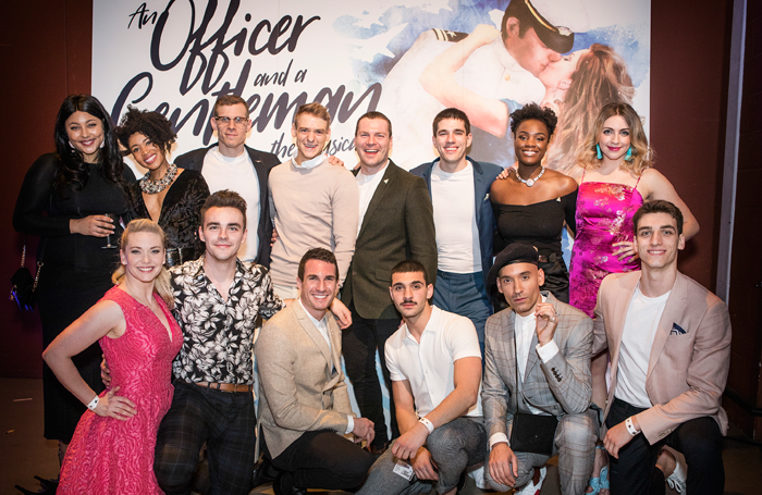 Cast members – back row: Maisy Bawden, Keisha Atwell, Joe Maxwell, Jonny Fines, Andy Barke, Ian McIntosh, Vanessa Fisher and Jessica Daley. Front: Emma Williams, Nathanael Landskroner, James Darch, George Ioannides, Keiran McGinn and Rhys Whitfield at the press night of An Officer and A Gentleman th