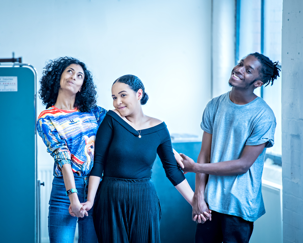 West Yorkshire Playhouse YC members Shreya Patel, Cara Barzey and Andrew Archie-Acheampong. Photo: Anthony Robling