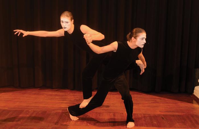 Pavlo Vyshnevskyi and Maksym Lytvynenko, students of the Kiev Municipal Academy of Circus and Variety Arts, pantomime department, perform Our World for WMO. Photo: Filip Stojanovic