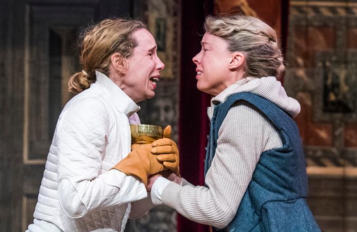 Michelle Terry and Catrin Aaron in Hamlet at Shakespeare's Globe. Photo: Tristram Kenton