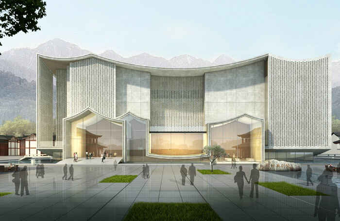 Artist's impression of the future Classical Theatre in the Yue Opera Town in Shengzhou, China