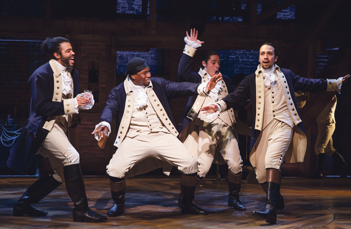 Lin-Manuel Miranda (right) and the cast of Hamilton – tickets for the show are now selling for up to $850. Photo: Joan Marcus