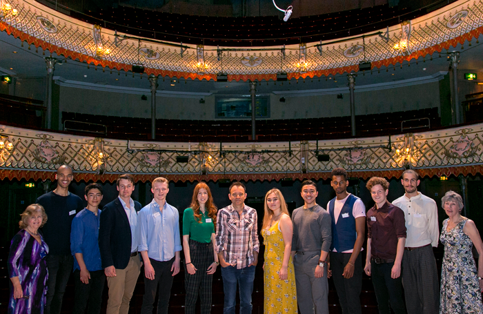 Lilian Baylis Awards: Carol Cooper (Royal Victoria Hall Foundation) with winners Marko Kovac, Joji Otani-Hansen, Connor Maxwell, William Robinson, Molly Saunders, Matthew Warchus (Old Vic artistic director), Megan Cammack, Jules Chan, Michael Workeye, Matt Littleson and Uri Levy with Valerie Colgan