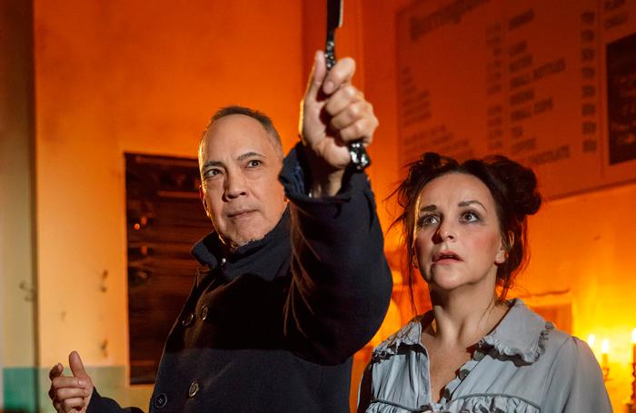 Thom Sesma and Sall Ann Triplett in Sweeney Todd at Barrow Street Theatre. Photo: Joan Marcus