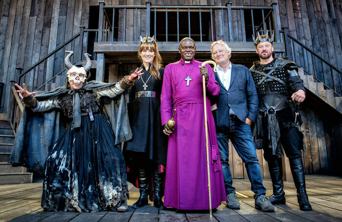 Cast members Maria Grey and Leandra Ashton, archbishop of York John Sentamu, producer James Cundall and cast member Richard Standing at the opening on the pop-up Rose Theatre in York. Photo: Anthony Robling