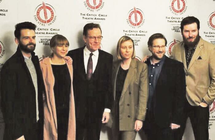 Network's stage management team with Bryan Cranston, third left, at the Critics' Circle Theatre Awards. Photo: Critics' Circle Theatre Awards
