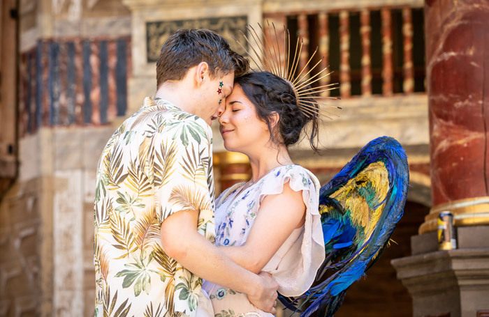 Luke MacGregor and Norah Lopez-Holden in The Winter's Tale at Shakespeare's Globe, London. Photo: Marc Brenner