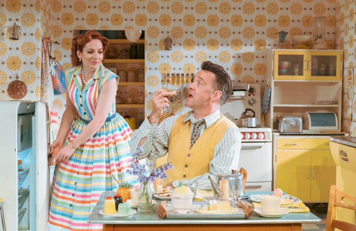 Katherine Parkinson and Richard Harrington in Home, I'm Darling at Theatr Clwyd. Photo: Manuel Harlan