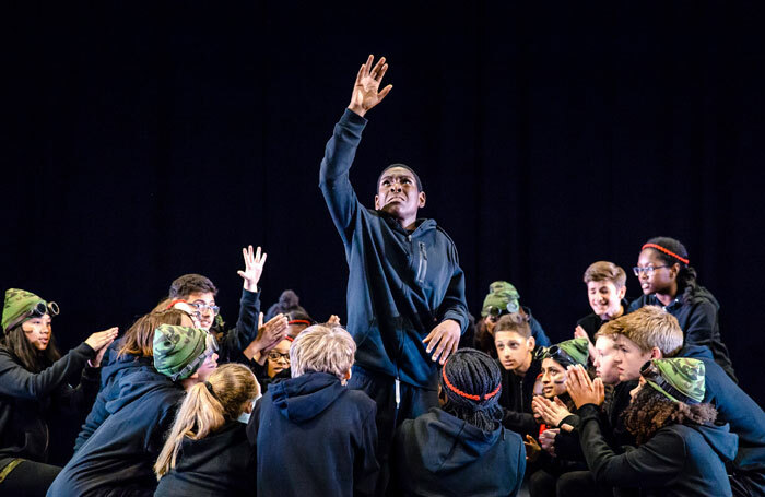 Haggerston School pupils perform Chinonyerem Odimba's The Sweetness of a Sting as part of the National Theatre's Connections festival. Photo: The Other Richard