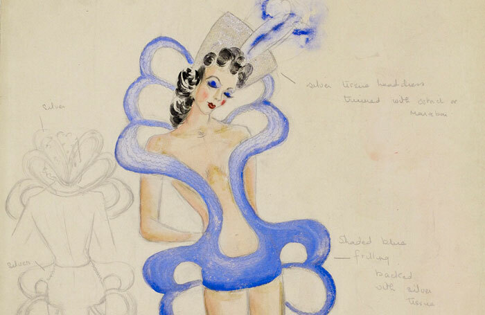 Costume design by Cordelia Selwood for the Windmill Theatre's Revuedeville shows in the 1930s, which escaped censorship by presenting nudes in motionless poses. Image: Victoria and Albert Museum