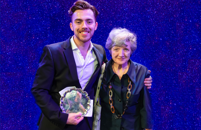 Alex Cardall (pictured with actor Julia McKenzie) also won the 2018 Stephen Sondheim Society Student Performer of the Year award. Photo: David Ovenden