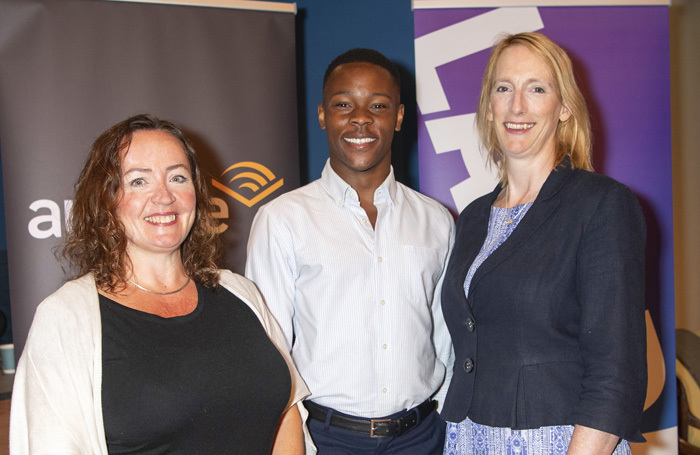 (Left to right) Tracey Markham from Audible, scholarship recipient Alistair Nwachukwu, and LAMDA principle Joanna Read at the LAMDA and Audible partnership launch. Photo: Richard Hubert Smith