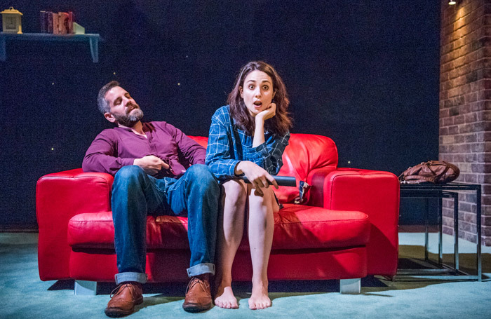 John Hopkins and Tuppence Middleton in The One at Soho Theatre, London. Photo: Tristram Kenton
