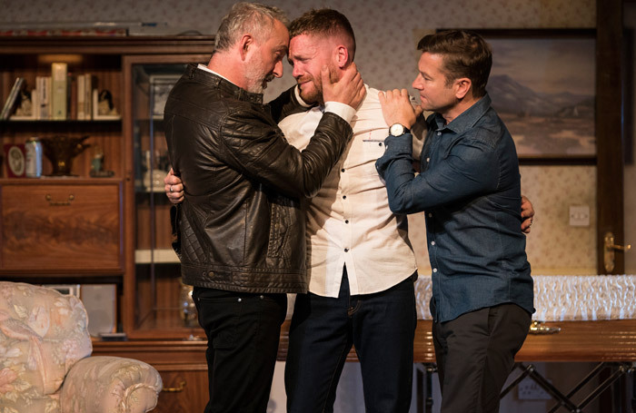 Declan Conlon, Ian Lloyd Anderson and Billy Carter in Come On Home at the Abbey Theatre. Photo: Patrick Redmond