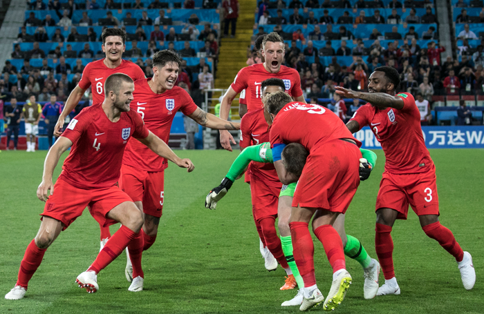 England team after winning the penalty shoot-out in the World Cup last-16 match against Colombia. Photo: Shutterstock