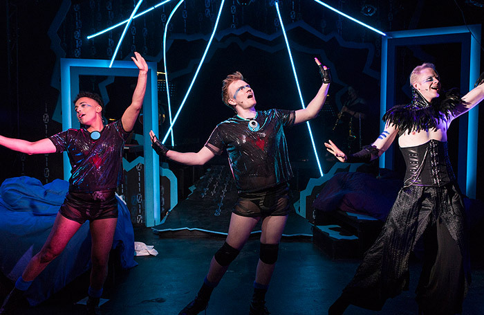 Robby Khela, Tom Blackmore and Christian Lunn in Grindr: The Opera at Above the Stag, London: Photo: PBG