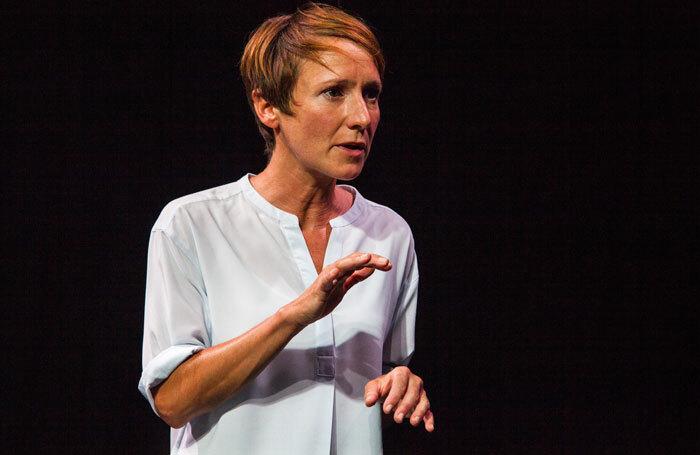 Polly Frame in On the Exhale at Traverse Theatre, Edinburgh. Photo: Iona Firouzabadi
