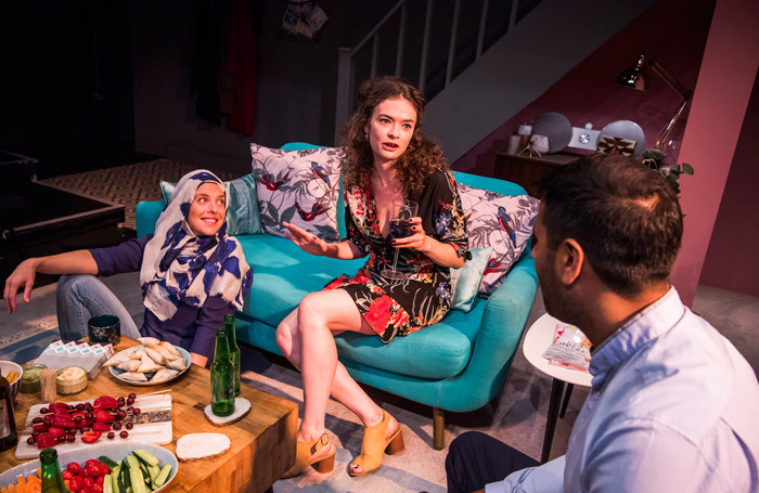 Claire Cartwright, EJ Martin and Nitin Kundra in Alkaline at Park Theatre, London. Photo: Tristram Kenton