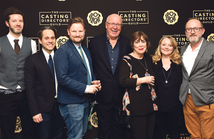 Casting Directors' Guild Awards Committee members Victor Jenkins, Michael Cox, Alastair Coomer, David Grindrod, Debbie McWilliams, Sophie Hallett and Andy Pryor at the Casting Awards launch. Photo: Scarlet Page
