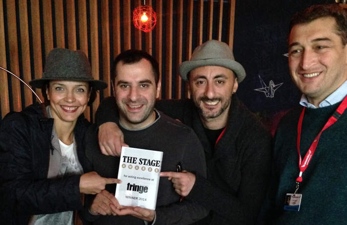 Tumanishvili Film Actors Theatre of Tbilisi with the The Stage Best Ensemble Award for Animal Farm, adapted by Guy Masterson, in 2014