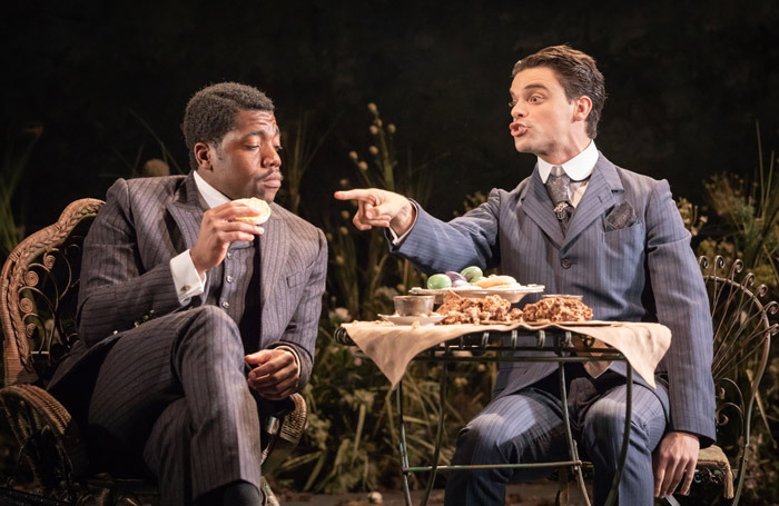 Fehinti Balogun and Jacob Fortune-Lloyd in The Importance of Being Earnest at Vaudeville Theatre. Photo: Marc Brenner