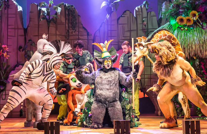 The cast of Madagascar the Musical at New Wimbledon Theatre, London. Photo: Scott Rylander