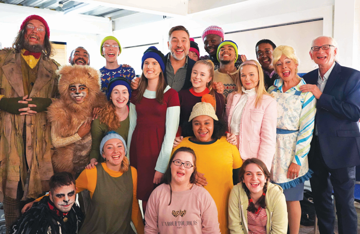 Writer David Walliams (centre) with the cast and crew of Mr Stink at Chickenshed Theatre. Photo: Chickenshed