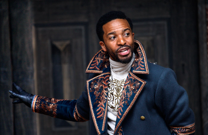 Andre Holland in Othello at Shakespeare's Globe, London. Photo: Simon Annand