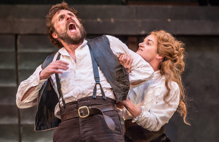 Edward MacLiam and Aoife Duffin in The Taming of the Shrew at Shakespeare's Globe. Photo: Marc Brenner
