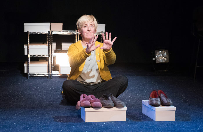 Julie Hesmondhalgh in The Greatest Play in the History of the World... at Traverse Theatre, Edinburgh. Photo: Jonathan Keenan