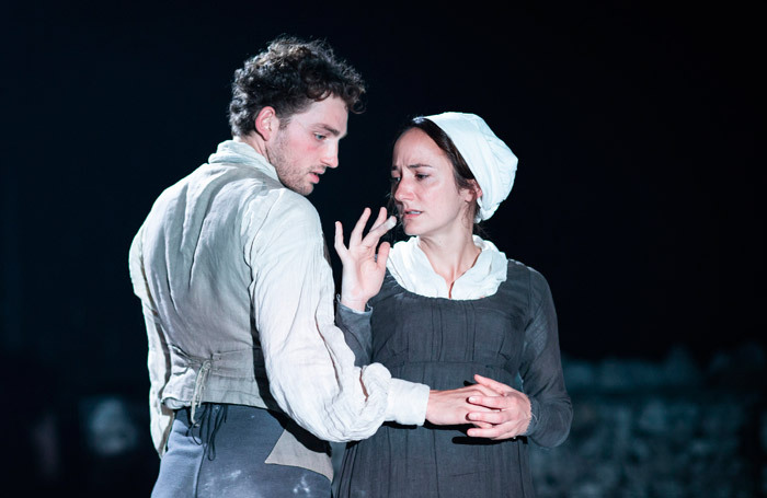 Laurie Davidson and Lydia Leonard in The Meeting at Minerva Theatre. Photo: Helen Maybanks