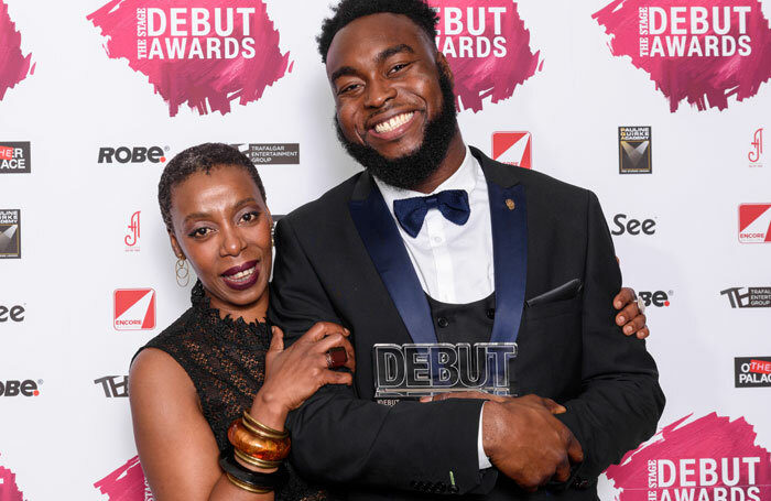 Award presenter Noma Dumezweni with best actor in a play award winner Abraham Popoola at The Stage Debut Awards 2017. Photo: Alex Brenner