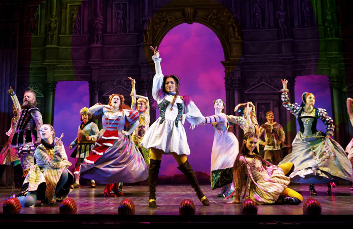 The cast of Head Over Heels at the Hudson Theatre, New York. Photo: Joan Marcus