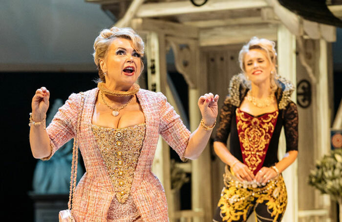 Rebecca Lacey and Beth Cordingly in The Merry Wives of Windsor at the Royal Shakespeare Theatre, Stratford-upon-Avon. Photo: Manuel Harlan