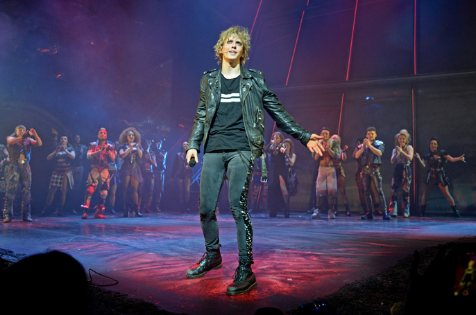 """LONDON, ENGLAND - APRIL 19:  Cast member Andrew Polec bows at the curtain call during the Gala Night performance of """"Bat Out Of Hell The Musical"""" at The Dominion Theatre on April 19, 2018 in London, England.    Pic Credit: Dave Benett"""