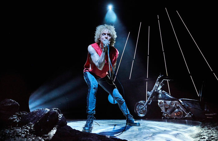 Andrew Polec in Bat Out of Hell at the Dominion Theatre. Photo: Specular