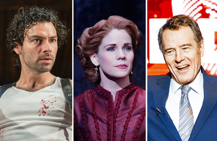 Aiden Turner (photo: Johan Persson), Kelli O'Hara (photo: Paul Klonik), Bryan Cranston (photo: Jan Versweyveld)