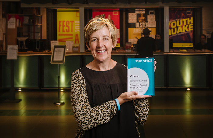 Julie Hesmondhalgh with her The Stage Edinburgh Award in 2018. Photo: Alex Brenner
