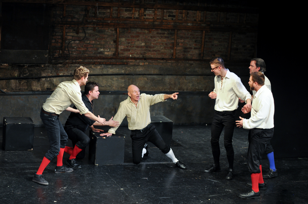 Patrick Stewart performing with the Improvised Shakespeare Company in New York in 2013
