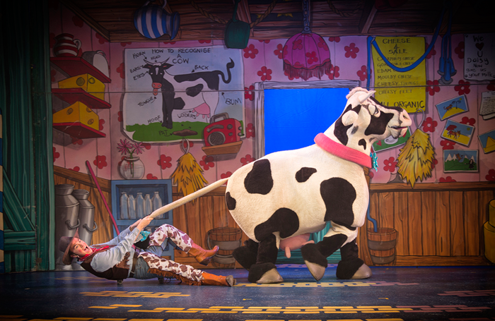 Pantomime cow costumes were not a favourite with our panellists (Yvonne Arnaud Theatre's Jack and the Beanstalk pictured). Photo: Bryan Allman