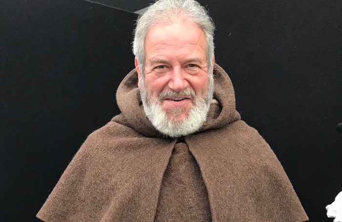 David Fleeshman in his toasty Friar Laurence costume at Shakespeare's Rose Theatre