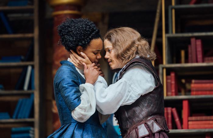 Leah Harvey as Emila Bassano and Charity Wakefield, as Shakespeare
