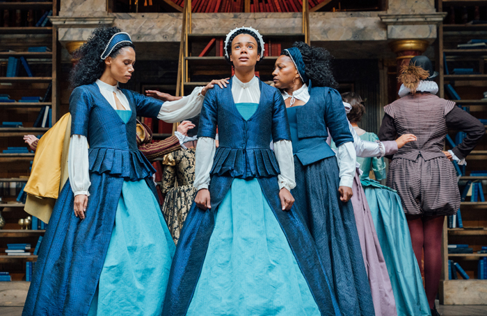 Vinette Robinson, Leah Harvey and Clare Perkins in Emilia at Shakespeare's Globe. Photo: Helen Murray