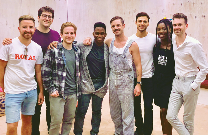 Designer Lee Newby, director Josh Seymour, cast members Harry McEntire and Tyrone Huntley, guest, singer Jake Shears, Dan Krikler (cast), Cash Holland (cast) and producer Alex Turner at the press night of Homos at Finborough Theatre. Photo: Jonjo Henry