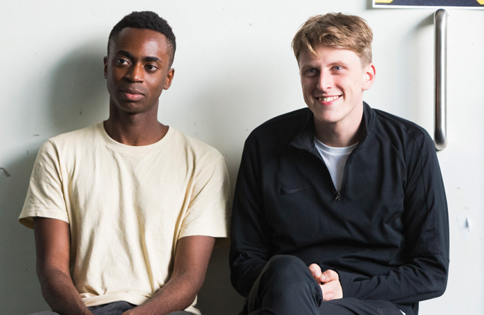 Kwaku Mills and Alex Austin in rehearsals for the End of Eddy. Photo: Alicia Clarke