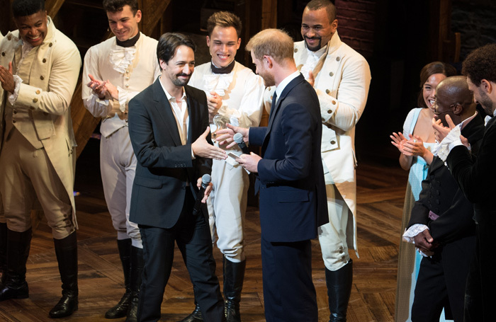 Lin-Manuel Miranda and Prince Harry with the cast of Hamilton at Victoria Palace Theatre. Photo: Craig Sugden