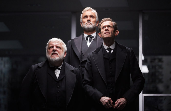 Simon Russell Beale, Ben Miles and Adam Godley in The Lehman Trilogy at the National Theatre, London. Photo: Mark Douet
